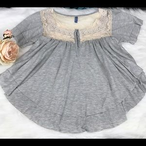 - Free People Trapeze Baby Doll Blouse